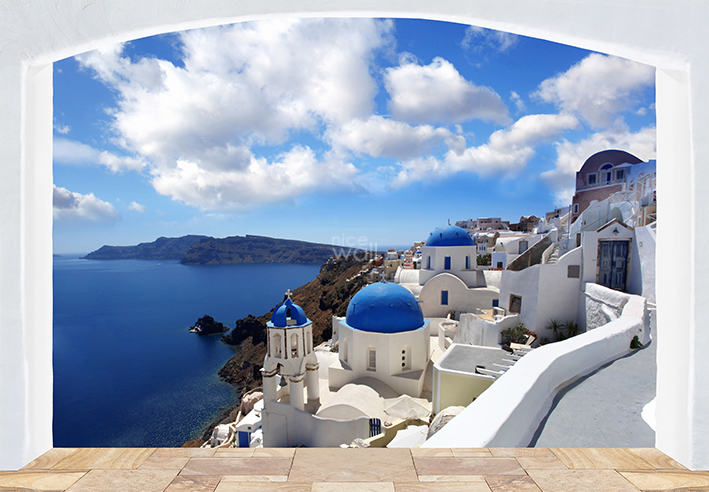 santorini greece coast giant wall mural decor wall mural greece flower street xxl photo wallpaper